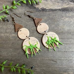 Hand crafted 3D succulent polymer clay earrings